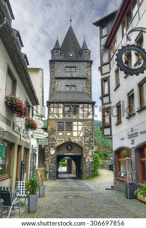BACHARACH, GERMANY - JUNE 26, 2015:  The old fortified town with half-timbered houses in the Rhine Valley. Rhine Valley is UNESCO World Heritage Site