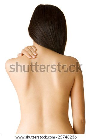 Back ache massage - Woman with backache from behind, naked body. - stock photo