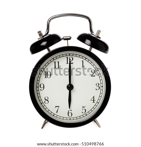 Back alarm clock with analog display six o clock, isolated on white.