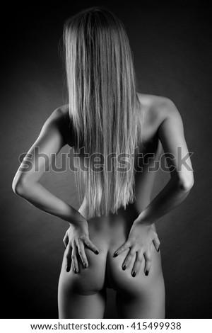 back butt naked women on black stock photo (royalty free) 415499938