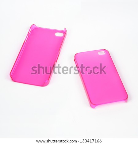 Back and Front of Pink Mobile Phone Cover - stock photo