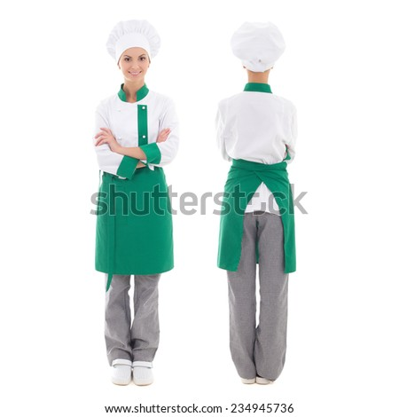 back and front view of happy chef woman in uniform - full length isolated on white background - stock photo