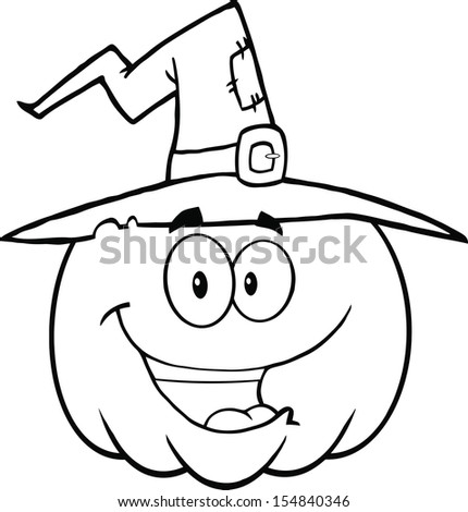 Back And White Happy Halloween Pumpkin With A Witch Hat Cartoon Mascot Illustration - stock photo