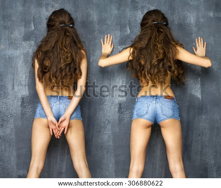 Back ass jeans shorts. Portrait of a beautiful women in blue jeans  - stock photo