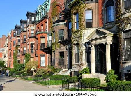 Back Bay Boston, Victorian architecture - stock photo