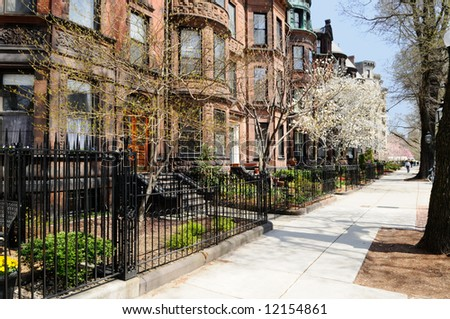Back Bay brownstones in early spring - stock photo
