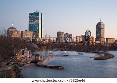 Back Bay skyline with the Charles River in the for-ground. The tallest building is the John Hancock Tower. Located in Boston, Massachusetts, USA.