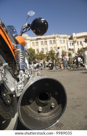 Back close view to exhaust of sport bike - stock photo