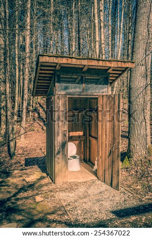 Back Country Outhouse #1 - (Warming Filter Applied) - stock photo