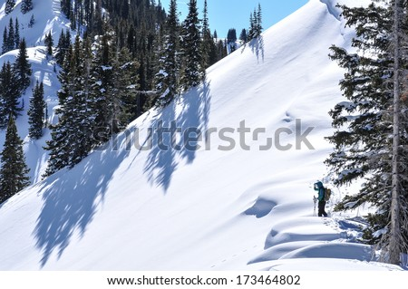 Back-country skier studying powder descent on wind sculpted ridge - stock photo