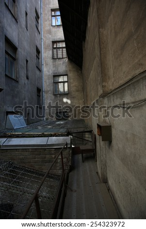 Back creep of an old multistory building - stock photo