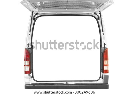 back door of white van open with isolated white background - stock photo