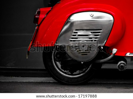 back end of a red scooter - stock photo