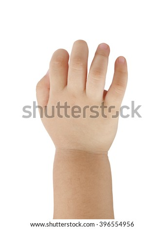 Back hand of asian baby on white background.