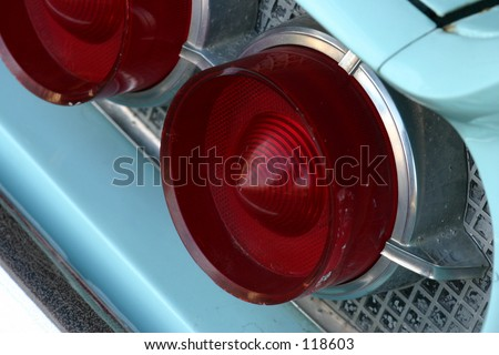 Back lights of classic car - stock photo