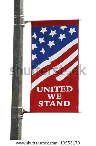 Back-lit American Flag Banner Isolated - stock photo