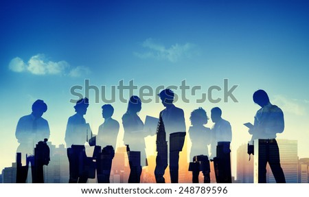Back Lit Business People Discussion Communication Meeting Concept - stock photo