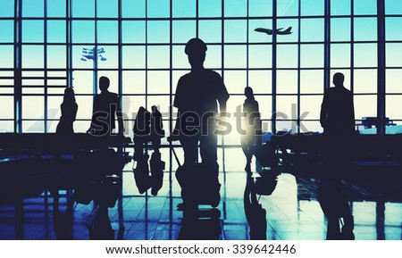 Back Lit Business People Traveling Airplane Airport Concept - stock photo