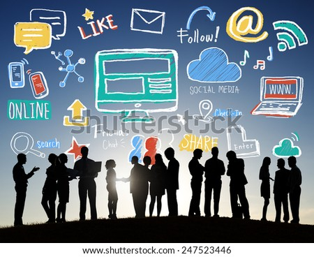 Back Lit Group Business People Discussion Social Media Concept - stock photo