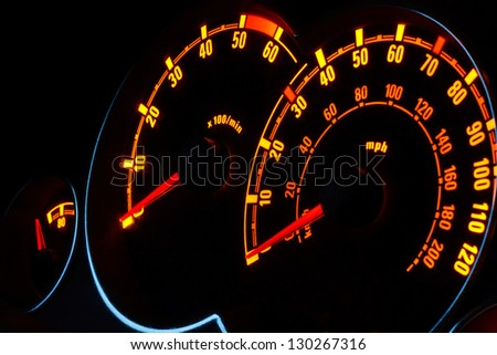 Back lit Speedometer and rev counter dashboard dials illuminated at night in automobile