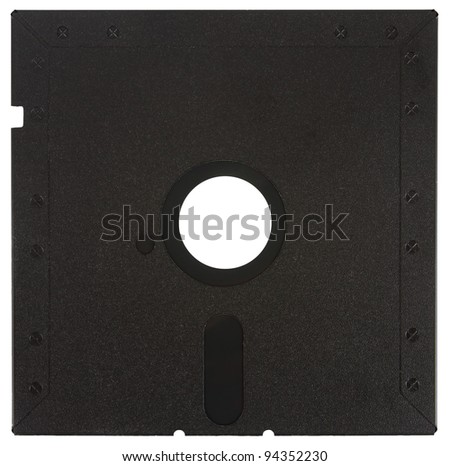 Back of a black floppy disk over a white background - stock photo