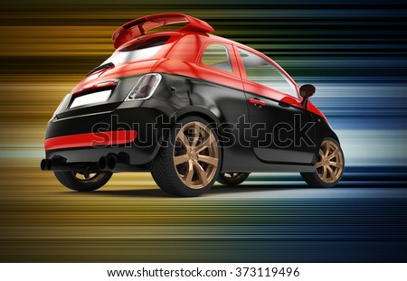 Back of a generic red and black city car isolated on a colorful background - stock photo