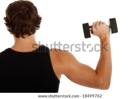 Back of a Young Man Lifting Weights on Isolated Background