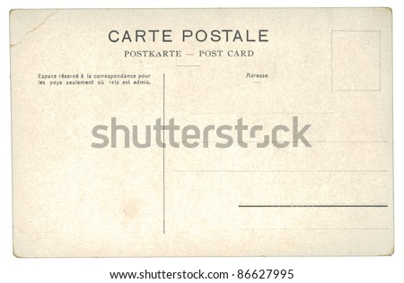 Back of an unused vintage postcard, Germany, circa 1910 - stock photo