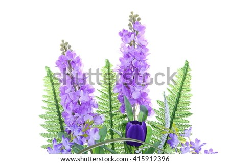 Back of Assorted Artificial Flower Bouquet in White Gold Vase in multiple Color of Purple and many kind of flowers in Studio Lighting on White Background