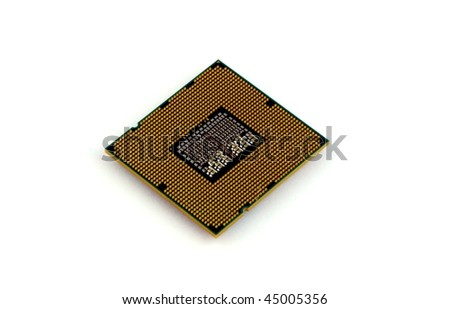 Back of CPU isolated on pure white - stock photo