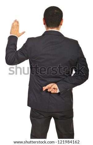 Back of executive man liar swearing false isolated on white background - stock photo