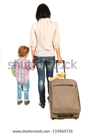 Back of family going to vacation isolated on white background - stock photo