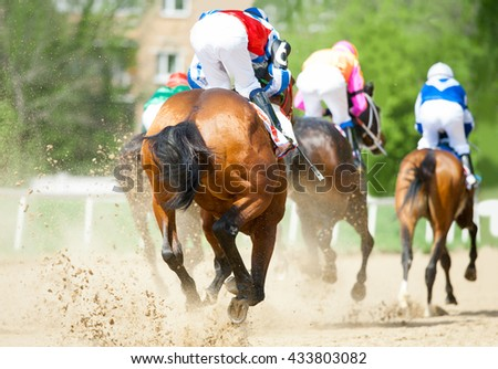back of horses in the race - stock photo