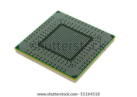 Back of modern microprocessor isolated on pure white, focus in front