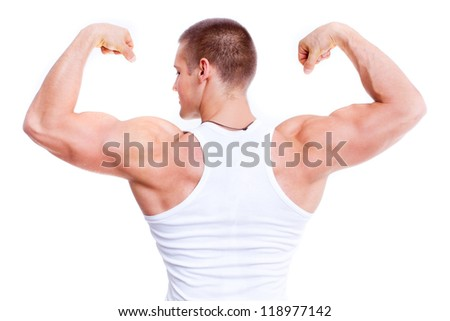 back of muscular man - isolated - stock photo