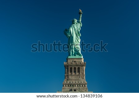 Back of the Statue of Liberty, New-York, USA - stock photo