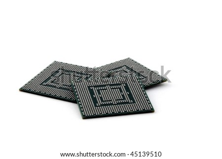 Back of three CPUs isolated on pure white - stock photo