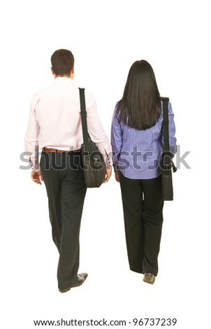 Back of two business people walking  and holding suitcases isolated on white background