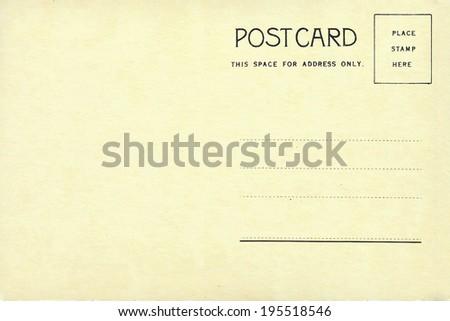 Back of vintage blank postcard. - stock photo