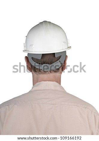 Back of worker man with white constructor helmet isolated - stock photo