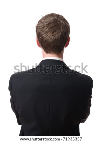 back of young businessman isolated on white background