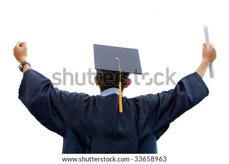 back of young male graduating from college