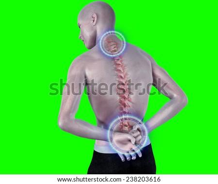back pain anatomical vision - stock photo