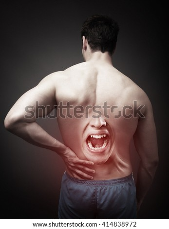 Back Pain Concept. Human Spine Injury - stock photo