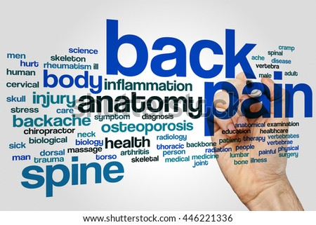 Back pain word cloud concept - stock photo