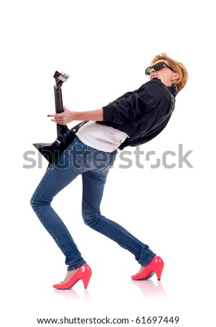 back picture of a girl with a guitar on a white background - stock photo