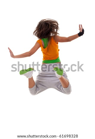 back picture of a woman dancer jumping on a white background