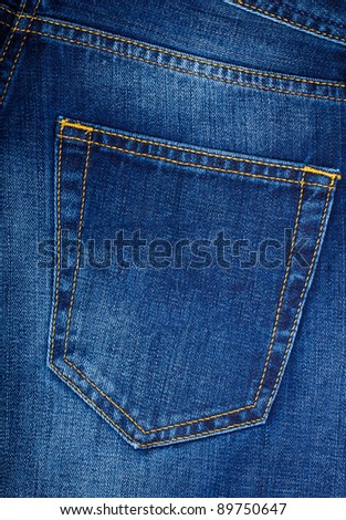 Back pocket of blue Jeans - stock photo