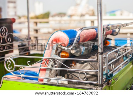 back seat of Tuk Tuk car in thailand - stock photo