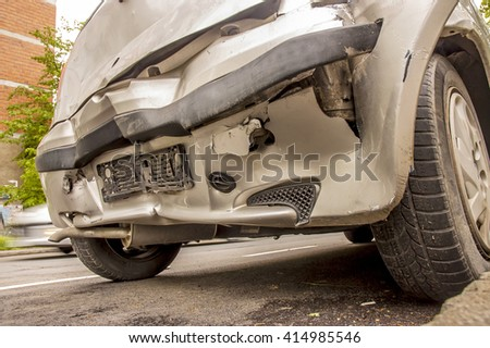 Back - side end of a vehicle after a car accident - stock photo